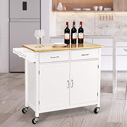 Giantex Portable Kitchen Rolling Island Cart Wood Table Top Island Serving Utility Kitchen Storage Trolley Carts WCabinet Drawer White 0 2