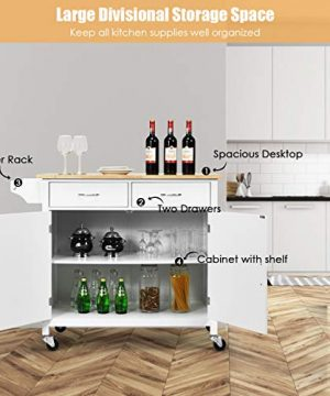 Giantex Portable Kitchen Rolling Island Cart Wood Table Top Island Serving Utility Kitchen Storage Trolley Carts WCabinet Drawer White 0 3 300x360