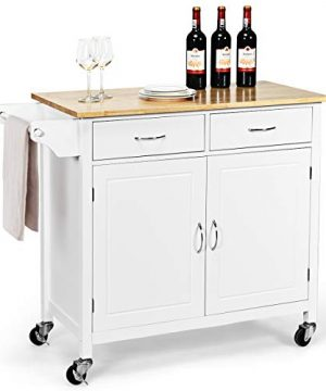 Giantex Portable Kitchen Rolling Island Cart Wood Table Top Island Serving Utility Kitchen Storage Trolley Carts WCabinet Drawer White 0 300x360