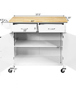 Giantex Portable Kitchen Rolling Island Cart Wood Table Top Island Serving Utility Kitchen Storage Trolley Carts WCabinet Drawer White 0 4 300x360