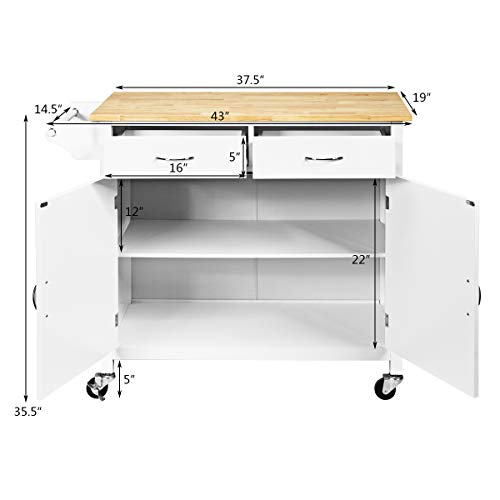 Giantex Portable Kitchen Rolling Island Cart Wood Table Top Island Serving Utility Kitchen Storage Trolley Carts WCabinet Drawer White 0 4