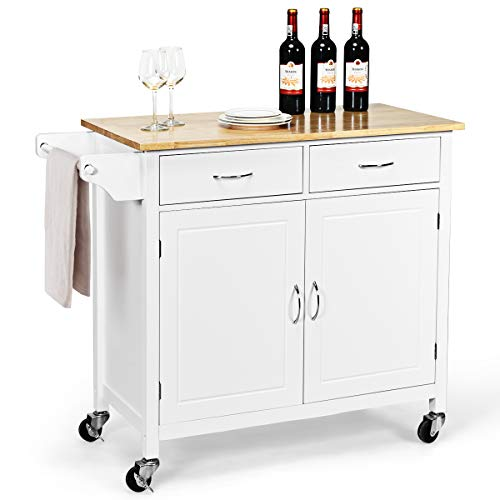 Giantex Portable Kitchen Rolling Island Cart Wood Table Top Island Serving Utility Kitchen Storage Trolley Carts WCabinet Drawer White 0