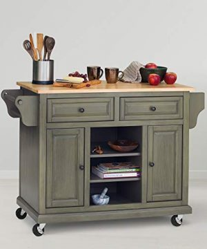 Glenwillow Home Kitchen Cart In Antique Earth GreenGrey With Wood Top 0 300x360