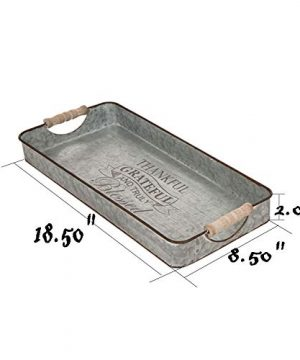 Glitzhome Metal Decorative Trays Set Of 2 Galvanized Trays With Wooden Handles Rectangle Decorative Trays Farmhouse Galvanized Metal Trays Rustic Table Serving Trays Decorative Centerpiece Home Decor 0 1 300x360