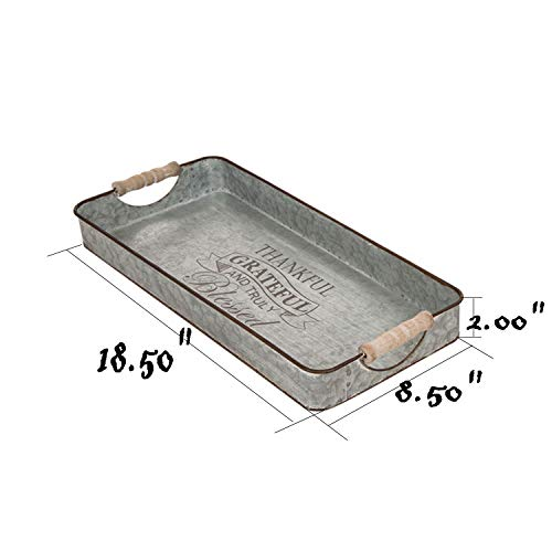 Glitzhome Metal Decorative Trays Set Of 2 Galvanized Trays With Wooden Handles Rectangle Decorative Trays Farmhouse Galvanized Metal Trays Rustic Table Serving Trays Decorative Centerpiece Home Decor 0 1