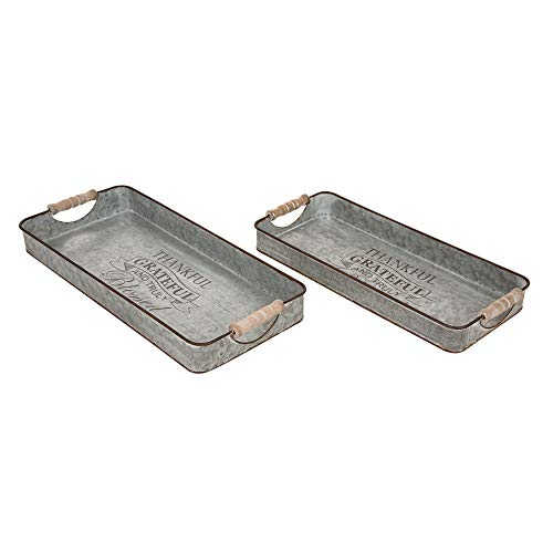 Glitzhome Metal Decorative Trays Set Of 2 Galvanized Trays With Wooden Handles Rectangle Decorative Trays Farmhouse Galvanized Metal Trays Rustic Table Serving Trays Decorative Centerpiece Home Decor 0