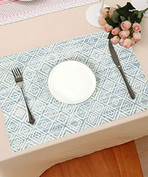 HEBE Placemats Set Of 6 Washable Placemat For Dining Table Woven Vinyl Place Mats Reversible Durable Kitchen Table MatsBlueWhite 6 0 0 300x360