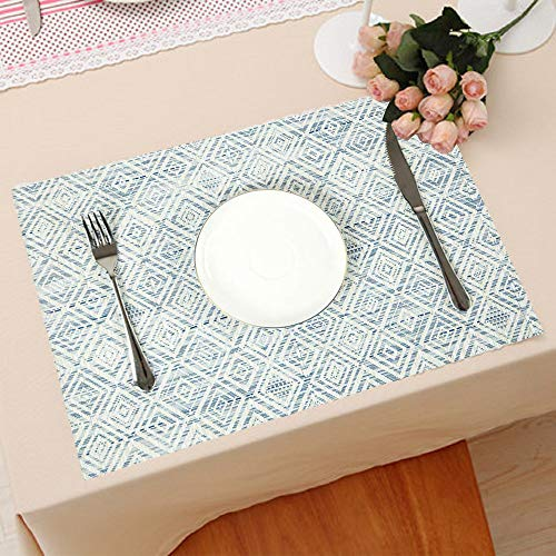 HEBE Placemats Set Of 6 Washable Placemat For Dining Table Woven Vinyl Place Mats Reversible Durable Kitchen Table MatsBlueWhite 6 0 0