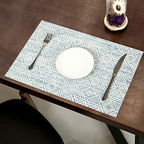 HEBE Placemats Set Of 6 Washable Placemat For Dining Table Woven Vinyl Place Mats Reversible Durable Kitchen Table MatsBlueWhite 6 0 1