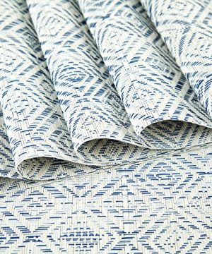 HEBE Placemats Set Of 6 Washable Placemat For Dining Table Woven Vinyl Place Mats Reversible Durable Kitchen Table MatsBlueWhite 6 0 2 300x360