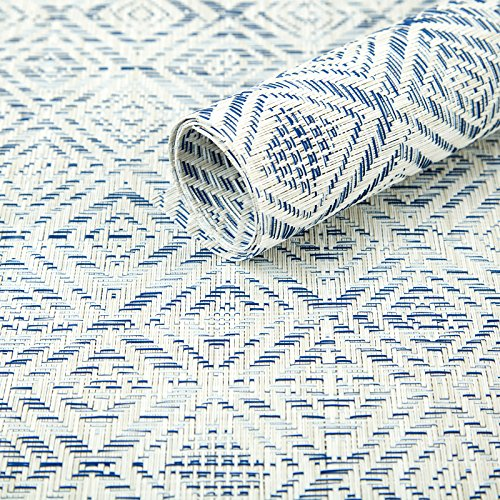 HEBE Placemats Set Of 6 Washable Placemat For Dining Table Woven Vinyl Place Mats Reversible Durable Kitchen Table MatsBlueWhite 6 0 3