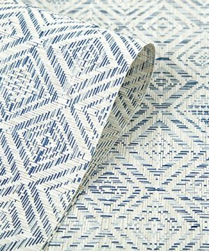 HEBE Placemats Set Of 6 Washable Placemat For Dining Table Woven Vinyl Place Mats Reversible Durable Kitchen Table MatsBlueWhite 6 0 4 300x360