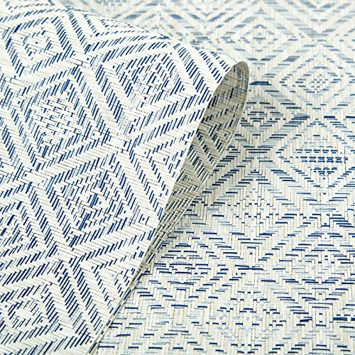 HEBE Placemats Set Of 6 Washable Placemat For Dining Table Woven Vinyl Place Mats Reversible Durable Kitchen Table MatsBlueWhite 6 0 4