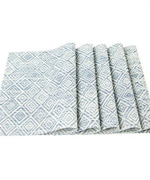 HEBE Placemats Set Of 6 Washable Placemat For Dining Table Woven Vinyl Place Mats Reversible Durable Kitchen Table MatsBlueWhite 6 0 5 300x360