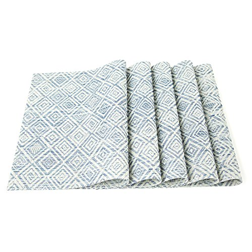 HEBE Placemats Set Of 6 Washable Placemat For Dining Table Woven Vinyl Place Mats Reversible Durable Kitchen Table MatsBlueWhite 6 0 5