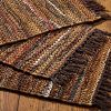HF By LT Tucson Leather Placemats 13 X 19 Inches Set Of 4 Handwoven Recycled Leather And Soft Cotton Brown 0 100x100