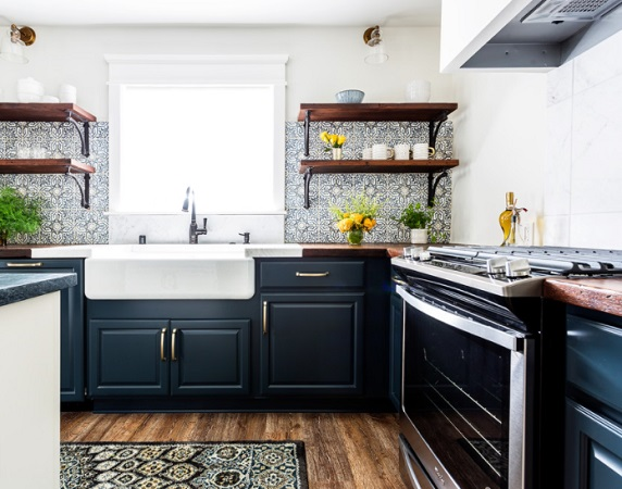 HGTV Modern Farmhouse Marine Blue Kitchen by SH interiors