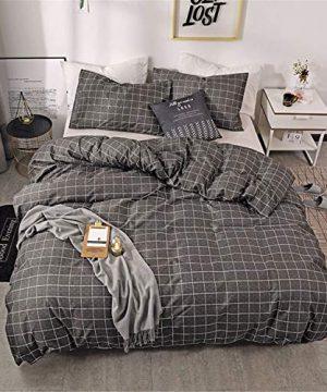 HMT NF Farmhouse Gingham Simple Geometric Square Pattern Bedding Set Plaid Reversible1 Duvet Cover With1 Pillow Sham Twin Size 0 300x360