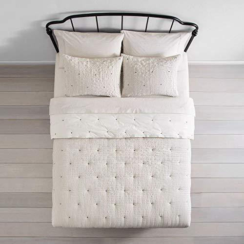 HNU 2 Piece Seersucker Comforter Set Twin Farmhouse Textured Look Stripe Casual Contemporary Soft Cozy Comfy Cotton Bedding 0 1