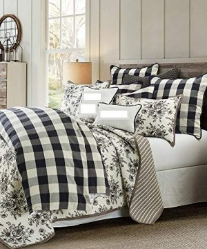 HNU 2 Pieces Buffalo Check Comforter Set Twin Black And White Farmhouse Check Rustic Casual Bold Soft Cozy Comfy Cotton 0 300x360