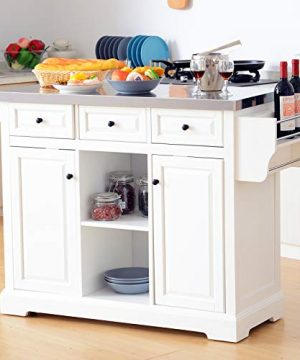 HOMCOM 51 X 18 X 36 Pine Wood Stainless Steel Portable Multi Storage Rolling Kitchen Island Cart With Wheels White 0 0 300x360