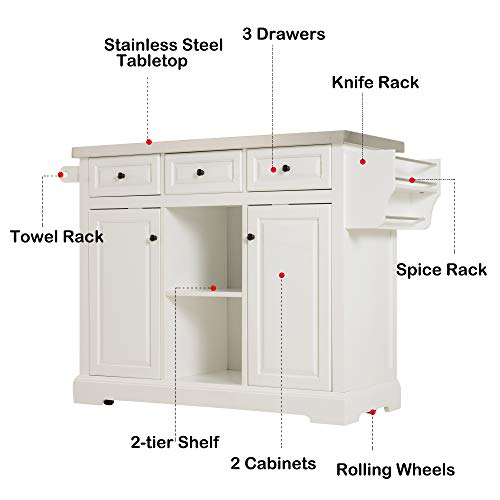 HOMCOM 51 X 18 X 36 Pine Wood Stainless Steel Portable Multi Storage Rolling Kitchen Island Cart With Wheels White 0 1
