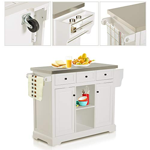 HOMCOM 51 X 18 X 36 Pine Wood Stainless Steel Portable Multi Storage Rolling Kitchen Island Cart With Wheels White 0 2