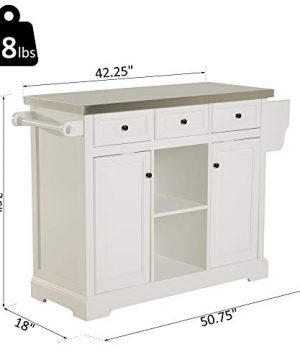 HOMCOM 51 X 18 X 36 Pine Wood Stainless Steel Portable Multi Storage Rolling Kitchen Island Cart With Wheels White 0 5 300x360