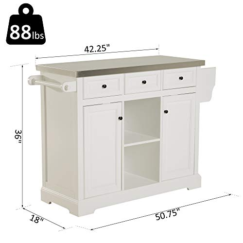 HOMCOM 51 X 18 X 36 Pine Wood Stainless Steel Portable Multi Storage Rolling Kitchen Island Cart With Wheels White 0 5