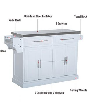 HOMCOM Portable Multi Storage Rolling Kitchen Island Storage Cart With Stainless Steel Top White 0 1 300x360