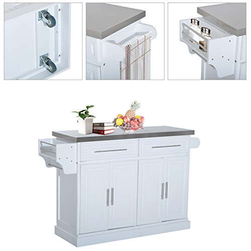 HOMCOM Portable Multi Storage Rolling Kitchen Island Storage Cart With Stainless Steel Top White 0 2