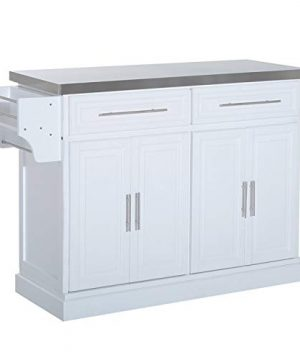 HOMCOM Portable Multi Storage Rolling Kitchen Island Storage Cart With Stainless Steel Top White 0 300x360