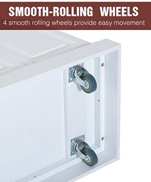 HOMCOM Portable Multi Storage Rolling Kitchen Island Storage Cart With Stainless Steel Top White 0 4 300x360
