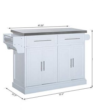HOMCOM Portable Multi Storage Rolling Kitchen Island Storage Cart With Stainless Steel Top White 0 5 300x360