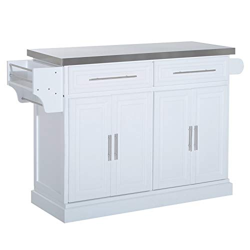 HOMCOM Portable Multi Storage Rolling Kitchen Island Storage Cart With Stainless Steel Top White 0