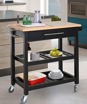 HOMCOM Rolling Mobile Kitchen Island Cart With Large Work CountertopKnife RackIntegrated Spice Rack Storage Drawer 0 0 300x360