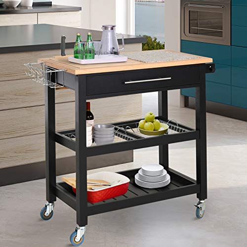 HOMCOM Rolling Mobile Kitchen Island Cart With Large Work CountertopKnife RackIntegrated Spice Rack Storage Drawer 0 0