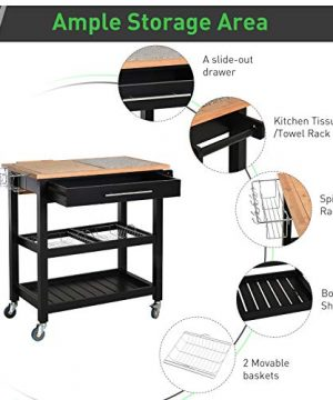 HOMCOM Rolling Mobile Kitchen Island Cart With Large Work CountertopKnife RackIntegrated Spice Rack Storage Drawer 0 2 300x360