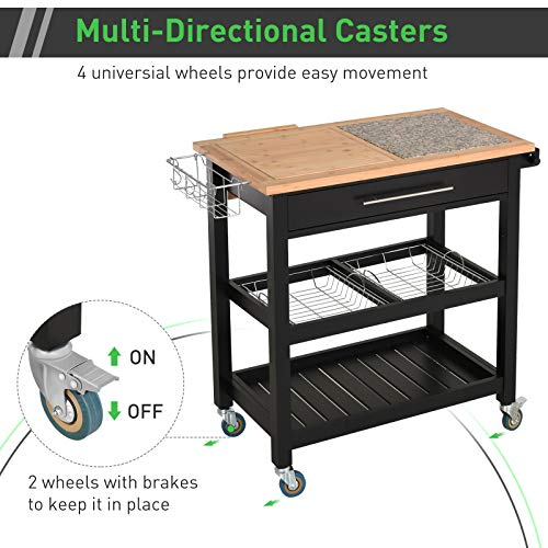 HOMCOM Rolling Mobile Kitchen Island Cart With Large Work CountertopKnife RackIntegrated Spice Rack Storage Drawer 0 3