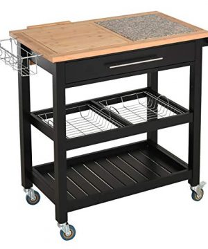 HOMCOM Rolling Mobile Kitchen Island Cart With Large Work CountertopKnife RackIntegrated Spice Rack Storage Drawer 0 300x360