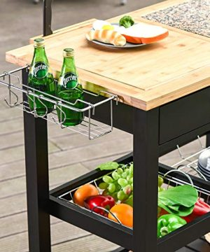 HOMCOM Rolling Mobile Kitchen Island Cart With Large Work CountertopKnife RackIntegrated Spice Rack Storage Drawer 0 4 300x360