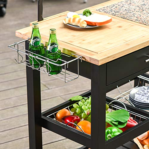 HOMCOM Rolling Mobile Kitchen Island Cart With Large Work CountertopKnife RackIntegrated Spice Rack Storage Drawer 0 4