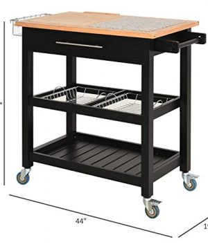 HOMCOM Rolling Mobile Kitchen Island Cart With Large Work CountertopKnife RackIntegrated Spice Rack Storage Drawer 0 5 300x360