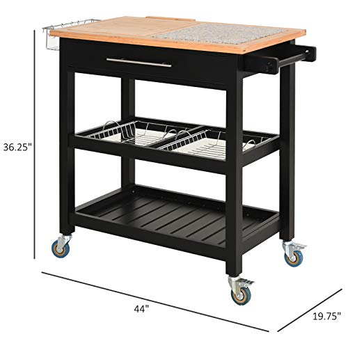HOMCOM Rolling Mobile Kitchen Island Cart With Large Work CountertopKnife RackIntegrated Spice Rack Storage Drawer 0 5