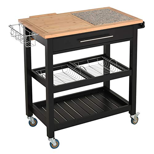 HOMCOM Rolling Mobile Kitchen Island Cart With Large Work CountertopKnife RackIntegrated Spice Rack Storage Drawer 0