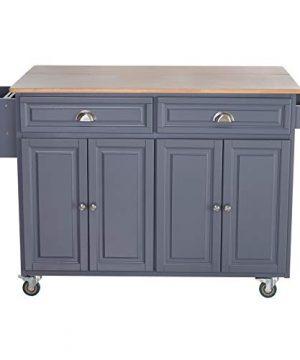 HOMCOM Rolling Oak Wood Drop Leaf Kitchen Island Cart With Storage And Butcher Block Grey 0 300x360