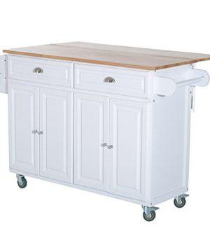 HOMCOM Rolling Oak Wood Drop Leaf Kitchen Island Cart With Storage And Butcher Block White 0 300x360