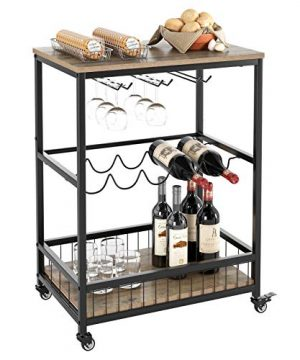 HOMECHO Wine Bar Cart Simple Modern Beverage Cart With Wine RackGlass Holder Rolling Serving Cart With Lockable Wheels For Home Kitchen Wood And Metal Frame Light Brown 0 300x360