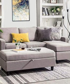 HONBAY Grey Sectional Couch With Ottoman Convertible L Shaped Chaise Sofa Set Sectional With Left Or Right Facing Grey 0 300x360