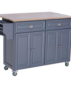 HYPE Rolling Oak Wood Drop Leaf Kitchen Island Cart With Storage And Butcher Block Grey 0 300x360